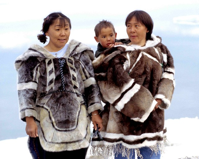 Students wear traditional clothing on the first day of school in kangerlussuaq